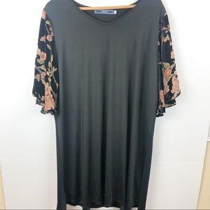 light weight black dress with velvet floral sleeve